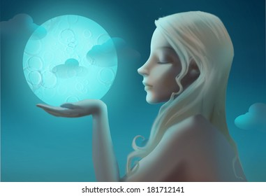 Charming young lady and moon