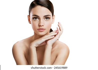 Charming young woman with perfect makeup, skin care concept / photo composition of brunette girl - isolated on white background