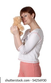 charming young woman with Teddy in the hands