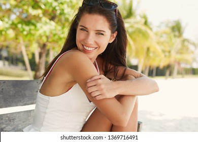 charmingly smiling girl. Summer time