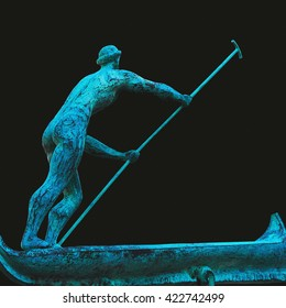 Charon is the ferryman of souls in the world of the dead (statue)
