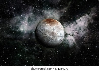 Charon is the largest of the five known moons of the dwarf planet Pluto. Retouched image. Elements of this image furnished by NASA.