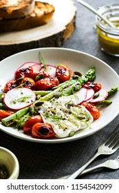 Charred Asparagus, Cherry tomato with Burrata and Pumpkin seed with Dill Vinaigrette Salad