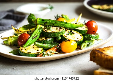 Charred Zucchini,Okra and Baby Carrot, Cherry Tomato with Thyme and Balsamic