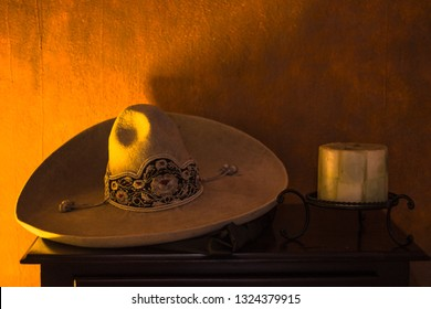 Charro hat on top of table
