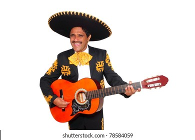 Charro mexican Mariachi playing guitar isolated on white [Photo Illustration]