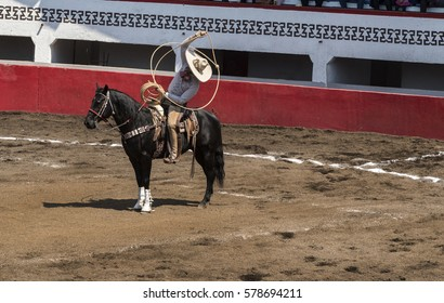 charro on horseback who plays with the lasso
