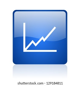 chart blue square glossy web icon on white background