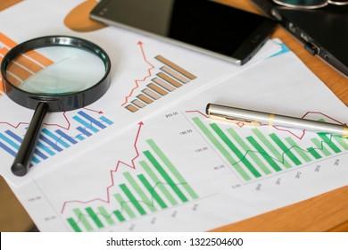 Chart business diagram search magnifier development statistics