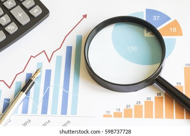Chart business diagram search magnifier statistic file