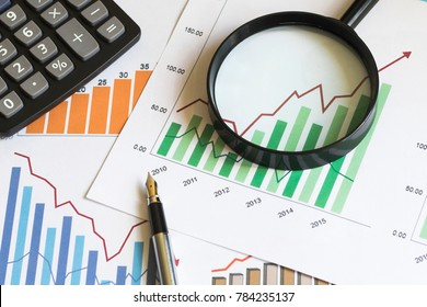Chart business diagram search magnifier statistic