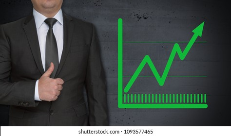 Chart concept and businessman with thumbs up.