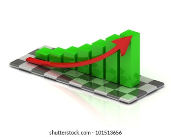 chart the growth of the green bars with a red arrow on the chessboard