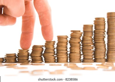 chart made of columns of coins isolated over white background