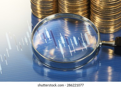 Chart, magnifying glass and pile of coins. Analyzing chart with magnifying glass. Market research study.