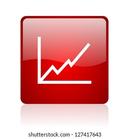 chart red square glossy web icon on white background