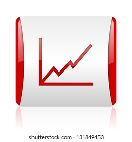 chart red and white square web glossy icon