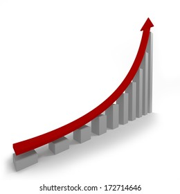 Chart rise. The red arrow on the gray columns symbolizing the rise in business. 3D
