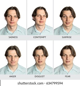 A chart of six basic human microexpressions. A Caucasian male showing sadness, contempt, surprise, anger, disgust, fear