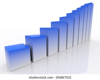chart success of the blue-white cubes on a white background. 3d