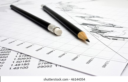 chart and two black pencils isolated