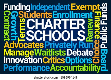 Charter Schools Word Cloud on Blue Background