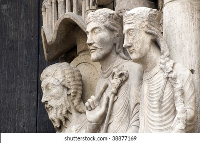Chartres (Eure-et-Loir, Centre, France) - Exterior of the gothic cathedral: statues