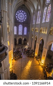 Chartres, FRANCE, 04 23 2019 : View of the inside of chartres' cathedral and labyrinth