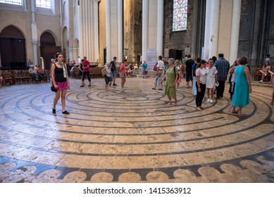 Chartres / France 07-26-2018. Labyrinth of the Cathedral of Chartres.