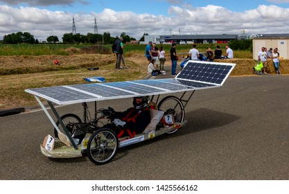 Chartres, France - 25 June 2017: Solar powered vehicle racing during the 4th edition of Solar Cup. This is a special race for solar powered vehicles and bicycles held each summer in Chartres, France.