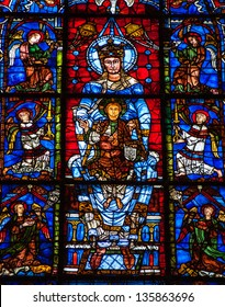 CHARTRES, FRANCE - APRIL 14: Blue Virgin with Child, a stained glass window in Chartres cathedral as seen on April 14, 2013 in Chartres, France. Chartres cathedral was built between 1194 and 1250.