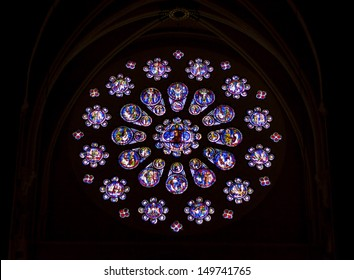CHARTRES, FRANCE - APRIL 23:old stained-glass windows in Cathedral of Our Lady of Chartres on april 23, 2013 in Chartres. Cathedrale Notre-Dame de Chartres is on UNESCO list.