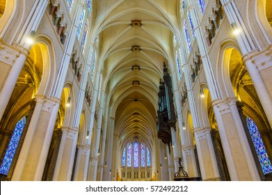 CHARTRES, FRANCE - CIRCA DECEMBER 2016: Interior view of Chartres Cathedral also known as the Cathedral of Our Lady of Chartres.