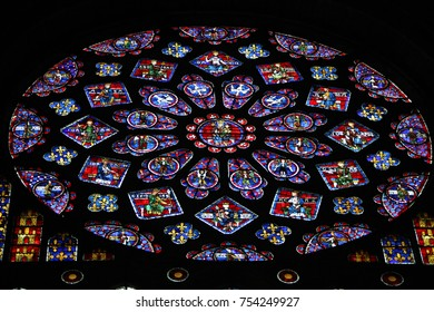 CHARTRES, FRANCE - February 5, 2013: Stained Glass with Mother Mary, the Four Evangelists and Four Prophets in the Cathedral of Our Lady of Chartres, France