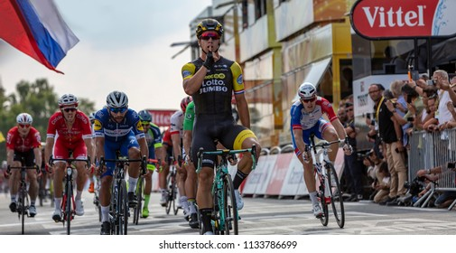 Chartres, France - July 13, 2018: The Dutch cyclist Dylan Groenewegen of LottoNL-Jumbo Team celebrates his victory in Chartres after the longest stage, Fougeres-Chartres, of Le Tour de France 2018.