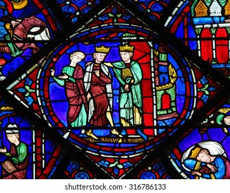 CHARTRES, FRANCE - JULY 21, 2015: Stained Glass window depicting Charlemagne in the Cathedral of Our Lady of Chartres, France