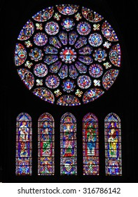 CHARTRES, FRANCE - JULY 21, 2015: South transept Rose Window (12th Century) in the Cathedral of Our Lady of Chartres, France.