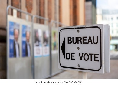 Chartres, France - March 15, 2020: Image of a guide to a polling place in France during the French municipal elections. French people were urged to vote in local elections amid coronavirus lockdown