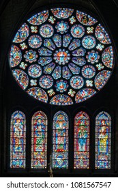 Chartres, France - May 22, 2017: South transept rose window inside Chartres Cathedral
