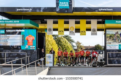 Chartres, France - October 13, 2019: Team Rally UHC Cycling is on the podium in Chartres, during the teams presentation before the autumn French cycling race Paris-Tours 2019