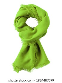 Chartreuse green wool shawl isolated on white