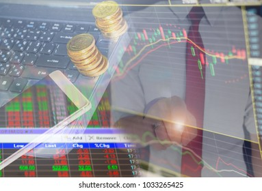 Charts of financial instruments with various type of indicators combine with gold and account book and money.Concept investment