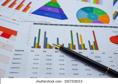 Charts Graphs paper. Financial development, Banking Account, Statistics, Investment Analytic research data economy, Stock exchange trading, Mobile office reporting Business company meeting concept.