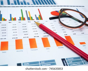 Charts Graphs paper, pencil and glasses. Financial, Accounting, Statistics, Analytic research data and Business company meeting concept