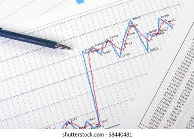 Charts and graphs of sales - a symbol of successful corporate business