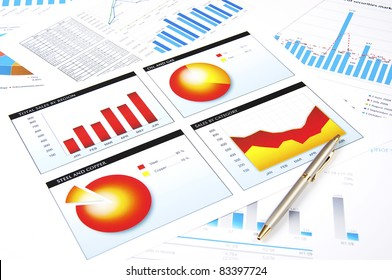 charts and pen, workplace businessman, business collage