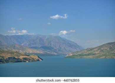 Charvak reservoir. Resort area near Tashkent.