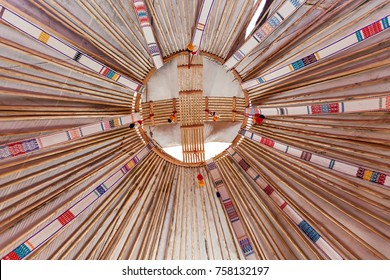 Charyn Canyon, KAZAKHSTAN - July 27: yurt roof, Interior of the yurt, nomadic movable house typical of central Asia.