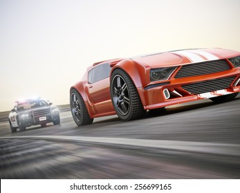 The chase. Police car chasing of an exotic sports car with motion blur. Generic custom photo realistic 3d rendering.