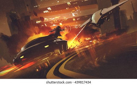 chase scene of spacecraft chasing futuristic car on highway,illustration